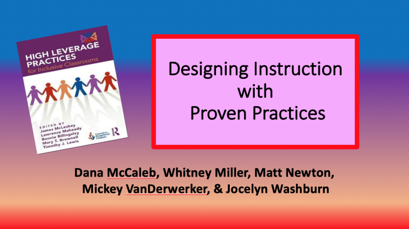 Designing Instruction with Proven Practices Presentation Title Slide, Depicts High Leverage Practice textbook cover with six interlocking stick figures holding hands
