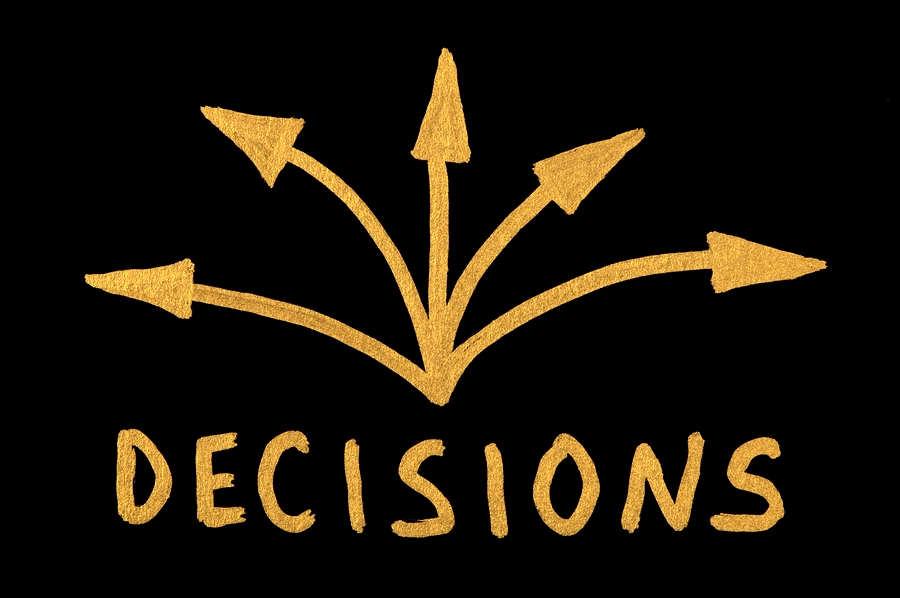Black background with five gold arrows pointing in different directions with the word decisions under them