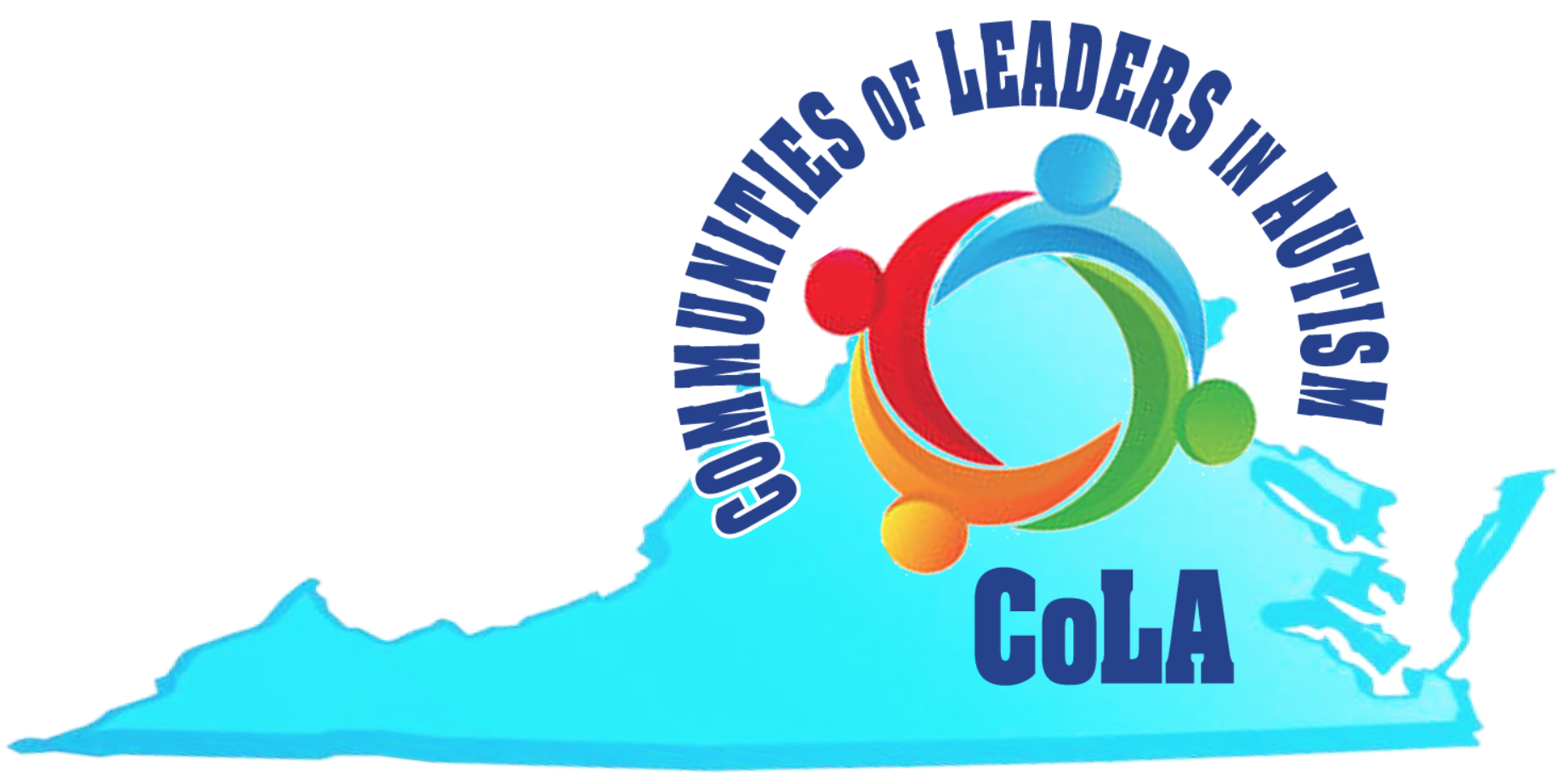 "COLA Logo - Shape of Virginia with the letters C-o-L-A written over the shape, along with ""Communities of Leaders in Autism"