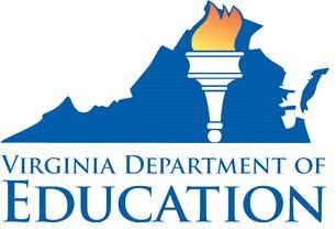 Virginia Department of Education Logo, Shape of Virginia with Torch