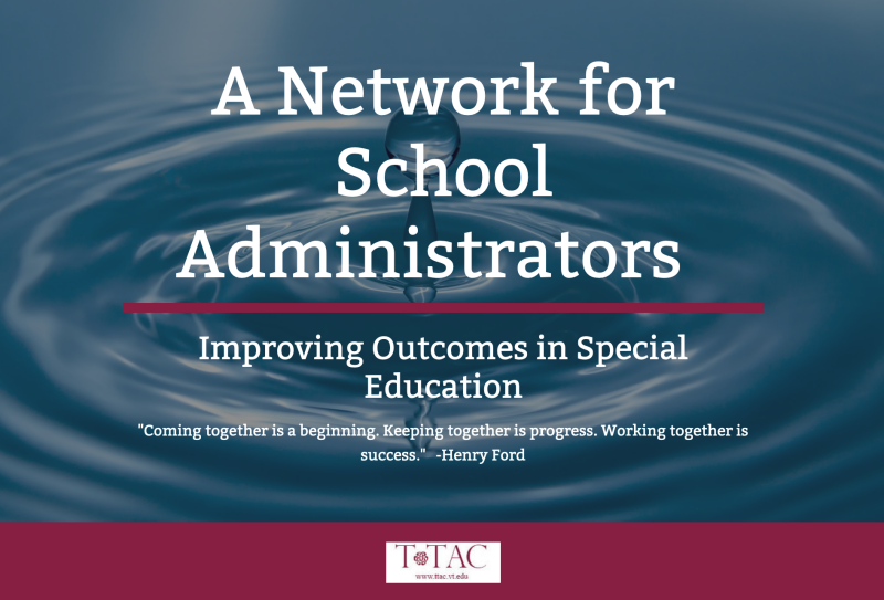 School Adminstrator's Network Homepage Image. Title with a water drop splashing into a pool in the background.
